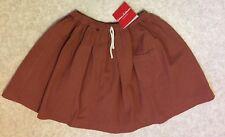 New Hanna Andersson Sz 130 (7-10) Brown Cotton Skirt Elastic Waist Front Pocket