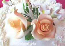 Gum Paste Sugar Pastel Peach Orange Roses Rosebuds Leaves & Ribbon Cake Flowers