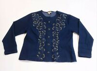 Choices Women's Blue Denim Jacket Embroidered Button-Front With Pockets Size XL