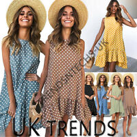 UK Women Polka Dots Frill Smock Dress Ladies Summer Holiday Beach Sundress 6-16