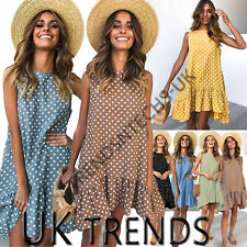 UK Women Polka Dots Frill Smock Dress Ladies Summer Holiday Beach Sundress 6-16