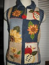 NWT TIARA international Country Harvest FALL VEST Sunflowers APPLES zip front L