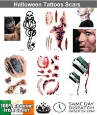 Realistic Temporary Tattoos Cut Blood Scab Scar Zombie Wound Halloween Costume