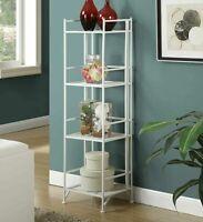 Modern 4-Tier Folding Metal Bookshelf Home Office Storage Display Stand White