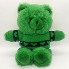"""Mervyn's Vintage Green Teddy Bear Wearing Knit Hearts Sweater 15"""" Plush Stuffed"""