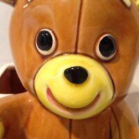 """Teddy Bear Lefton Planter Brown Glazed Ceramic Japan 6"""" Foil Tag Vintage"""