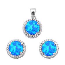 Halo Blue Opal & Cz  .925 Sterling Silver Earring & Pendant Set