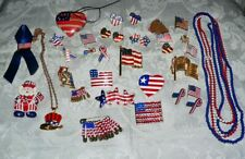 Independance Day Jewelry Lot-Flags-Usa-Sparklies-U ncle Sam 33 Pcs-Variety-Fun