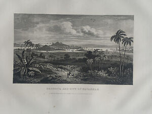 1853 View of Havana Cuba Engraving Original Antique Print