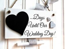 Handmade Wedding Day Countdown Chalkboard Plaque Engagement Gift silver hearts