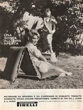 ADVERTISING PUBBLICITA MATERASSI SPIAGGIA PIRELLI -1962