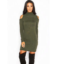 Womens Knitted Bodycon Long Sleeve Short Mini Jumper Winter Sweater Party Dress