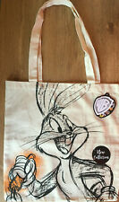 Warner Bros Bugs Bunny eating a carrot Canvas Tote Bag Shopper WB TAGS NEW