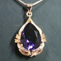 8Ct Round Purple Amethyst Pear Pendant Necklace Women Jewelry 14K Rose Gold