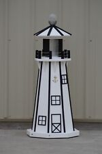"39"" Octagon Electric and Solar Powered Poly Lumber Lighthouse (White/black trim)"
