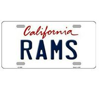 """LA Rams California State Background Novelty Metal License Plate 6"""" x 12"""""""
