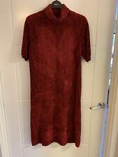 Ladies M&S Plum Maroon Chenille Roll Neck Jumper Dress Size 14