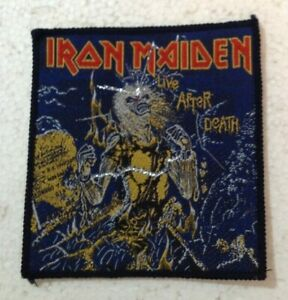 Iron Maiden Live After Death vintage 1980s SEW ON PATCH - BLACK overlocking