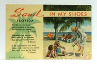Florida Sand In My Shoes Beach Palm Trees Woman Two Girls Linen Vintage Postcard