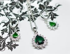18K White Gold GP Green Emerald Swarovski Crystals Set Necklace Droped Earrings