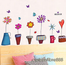 6 Colourful Butterflies Potted Flower Wall Stickers Removable Home Art Decor
