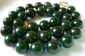"Natural Beautiful 12mm Dark Green Emerald Gemstone Round Beads Necklace 18"" AAA"