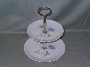 Wedgwood Ice Rose Bone China 2-Tier Hostess Cake Plate Stand