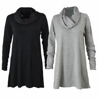 NEW Ex M&S Soft Cowl Neck Tunic Top Sweater Jumper Grey or Black Sizes 6 - 24