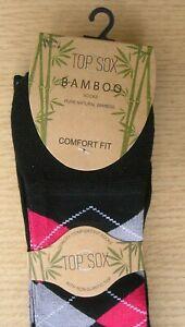 Mens 3 Pack Bamboo Soft Non Elastic Argyle /Toe & Heel Socks 6-11 Mixed Colours