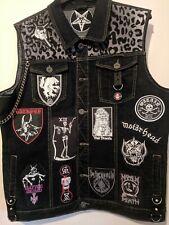 Custom Made Custom Designed Battle Vest. Punk Rock Denim Jacket Studs & Spikes
