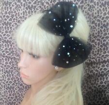 BIG SPARKLE BLACK BOW TULLE TUTU NET ALICE HAIR HEAD BAND 80s PARTY FANCY DRESS
