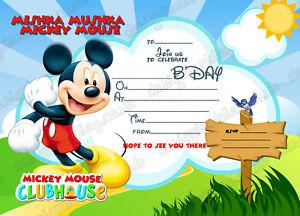 Disney Mickey Mouse kids Birthday Party Invitations  X 8 CARDS + envelopes