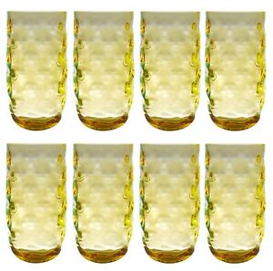 QG Clear Colorful Acrylic Plastic 22 oz Drinking Glass Tumbler Set of 8 Yellow