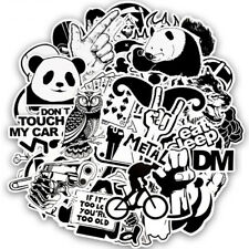 50Pcs Black And White Sticker Punk Anime Stickers For Kid DIY Luggage Laptop