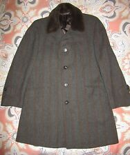 """Vintage USA  Black Devil Herringbone Wool Car Over Coat SZ M """"fur"""" Gray Tweed 38"""