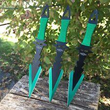 GREEN 3PC SET Ninja Tactical Combat Kunai Throwing Knife Set w/Sheath Hunting -W