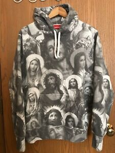 Supreme Hoodie - Jesus and Mary Hooded Gray & White Sweatshirt Size Medium EUC