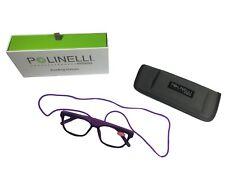 Polinelli Milano Italian  Dark Purple Readers w Blue Light Blocking Tech w Case