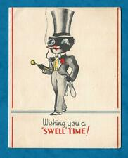 C1930s CHRISTMAS CARD - BLACK CAT IN TOP HAT & TAILS WITH MONOCLE & CANE