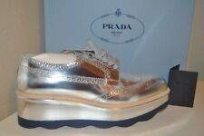 PRADA Scalloped Metallic Silver Leathr Wingtip LaceUp Oxford Platform Sneaker 11