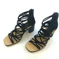 NEW rag & bone Women's 8 EU 38 Black Camille Suede Knotted Strappy Sandals Heel