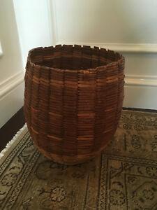 Antique Primitive Large Woven Gathering Basket