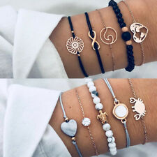 Fashion Women Bohemian Beads Shell Moon Bracelet Set Bangle Jwelry Gift