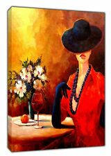 EVENING WINE OIL PAINT REPRINT ON WOOD FRAMED CANVAS WALL ART HOME DECORATION