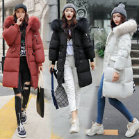 Winter Women's long Down Cotton Ladies Parka Hooded Coat Quilted Jacket Outwear