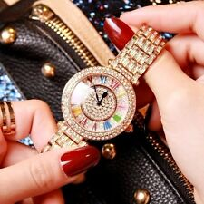 Luxury Stylish Women`s Rose Gold Full Diamond Colorful Rotation Quartz Watches