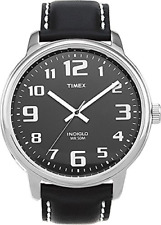 Mens Timex Indiglo Black Leather Jumbo Big Number Black Dial Watch T28071