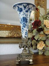 Luxus Jugendstil Blumenvase Porzellan Bronze Zwiebelmuster Edel Antik Stil Vase