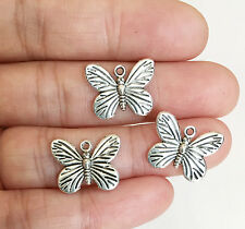 10 pcs of Antique Silver plated butterfly charm drop 12x17 mm