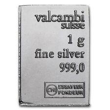 Lingot Valcambi 1g Argent pur 999 Neuf / Valcambi 1 Gram Fine Silver 999 Bar